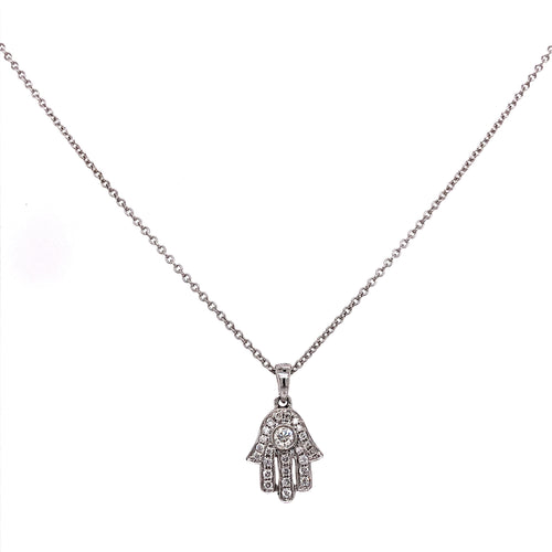 Diamond Hamsa Hand W/ Large Center Diamond ctw 0.20 ctw 18K White Gold