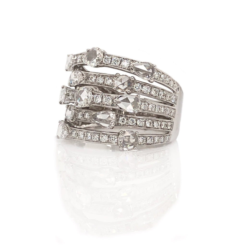 5 Band Layered Rose Cut  Pave Diamond Ring 0.74 ctw 18k White Gold | Blacys Fine Jewelers, Inc.