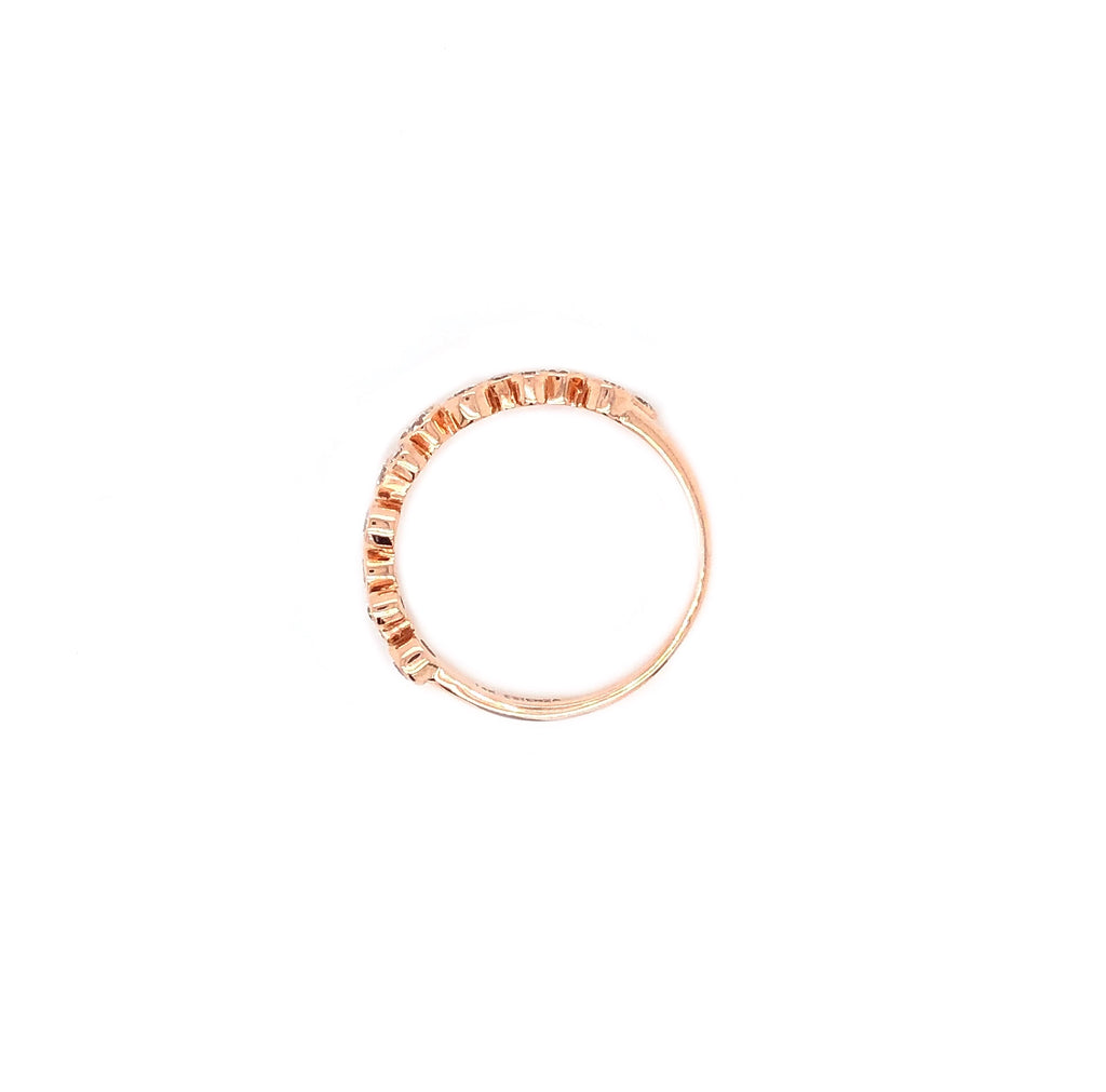 Off Center Small and Large Circle Band Round Brilliant Cut Diamonds 0.45 ctw 14K Rose Gold | Blacy's Vault