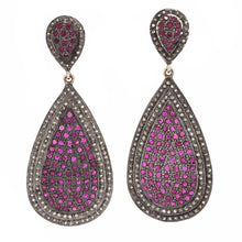 Load image into Gallery viewer, Double Teardrop Ruby Earrings with Black Diamond Halo Sterling Silver and Gold Vermeil | Blacy's Fine Jewelers Blacys Vault
