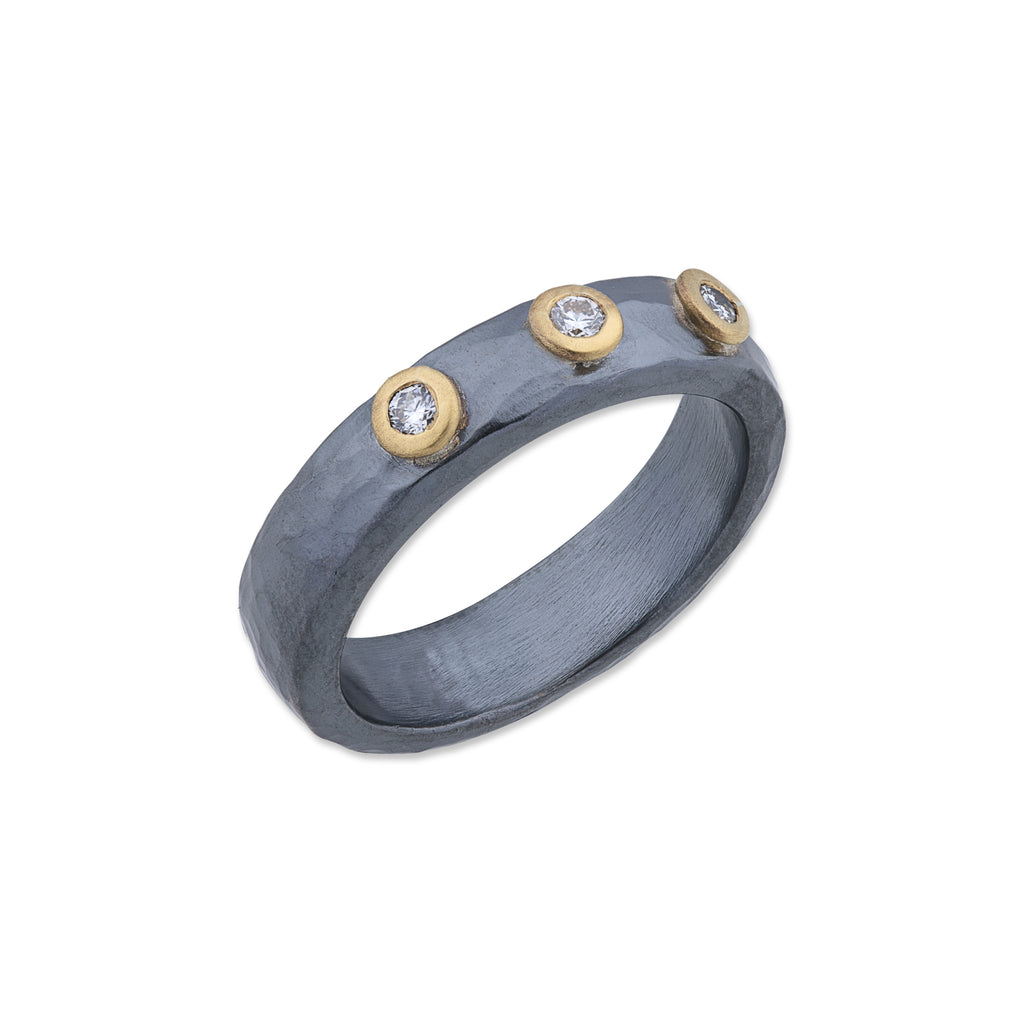 Lika Behar Collection Stockholm Ring 3 Round Brilliant Diamonds 24k Gold and Oxidized Sterling silver | Blacy's Fine Jewelers