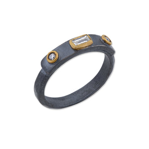 Lika Behar Collection Stockholm Ring 2 Round Brilliant Diamonds with Baguette Center Oxidized Sterling Silver and 24K Gold | Blacy's Fine Jewelers