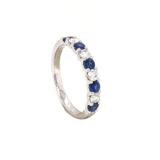 Blue Sapphire and Diamond Straight Line Shared Prong Band 5 Bright Blue Sapphires 14K White Gold | Blacy's Fine Jewelers