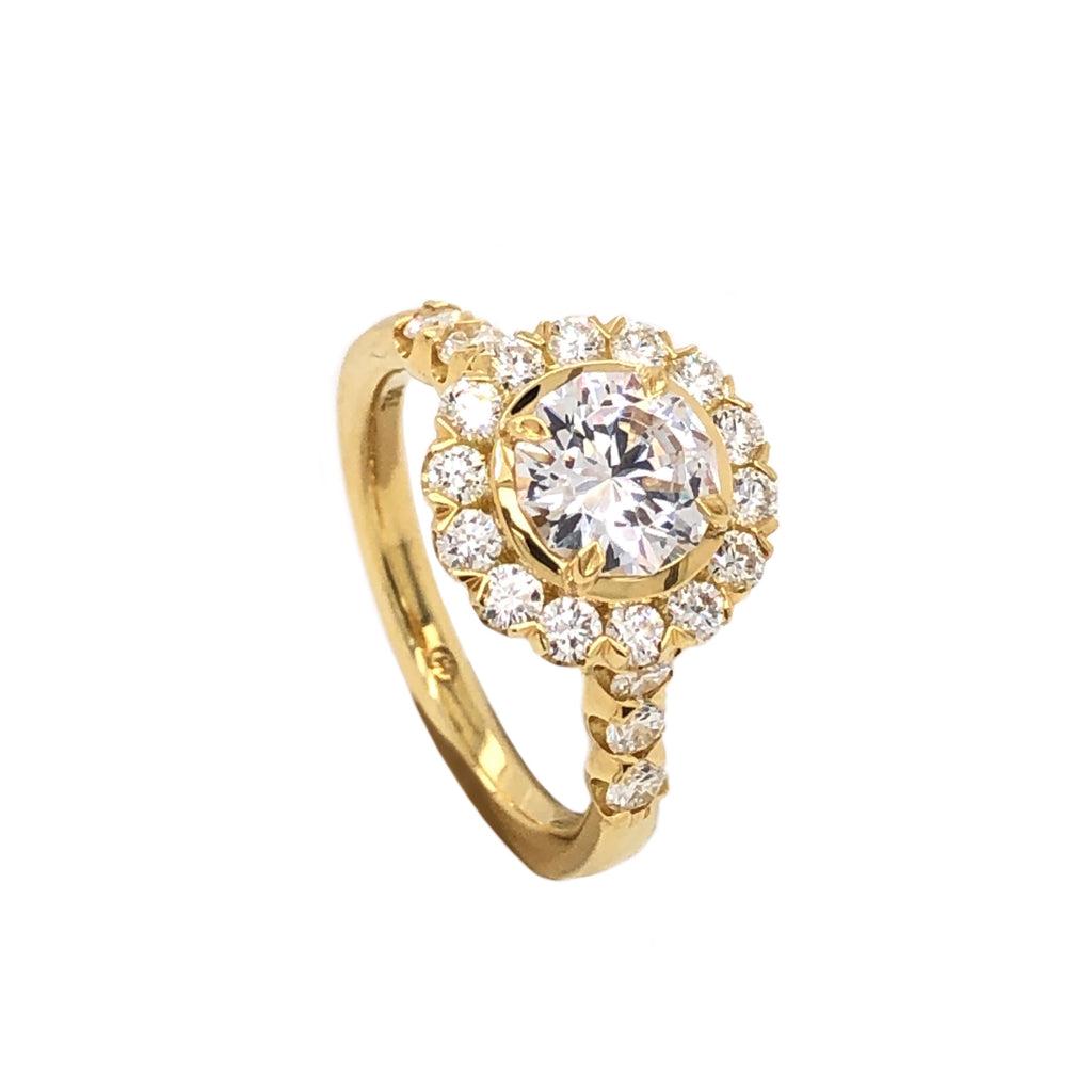 Christopher Designs Classic Round Halo Engagement Semi Mounting 18 Kt Yellow Gold 0.71 ctw | Blacy's Fine Jewelers Blacys Vault
