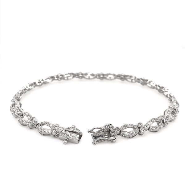 Vintage Inspired Diamond Tennis Bracelet W/Safety Clasp 2.00 ctw 14K White Gold | Blacy's Vault