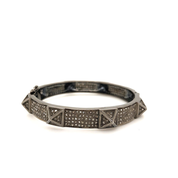 Studded Bangle W/Safety Clasp Salt and Pepper Diamonds 9.00 ctw Oxidized Sterling Silver | Blacy's Vault