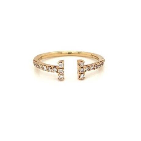 """T- Bar""  Pave Round Brilliant Cut Diamonds 0.25 ctw Stackable Band 14K Yellow Gold 