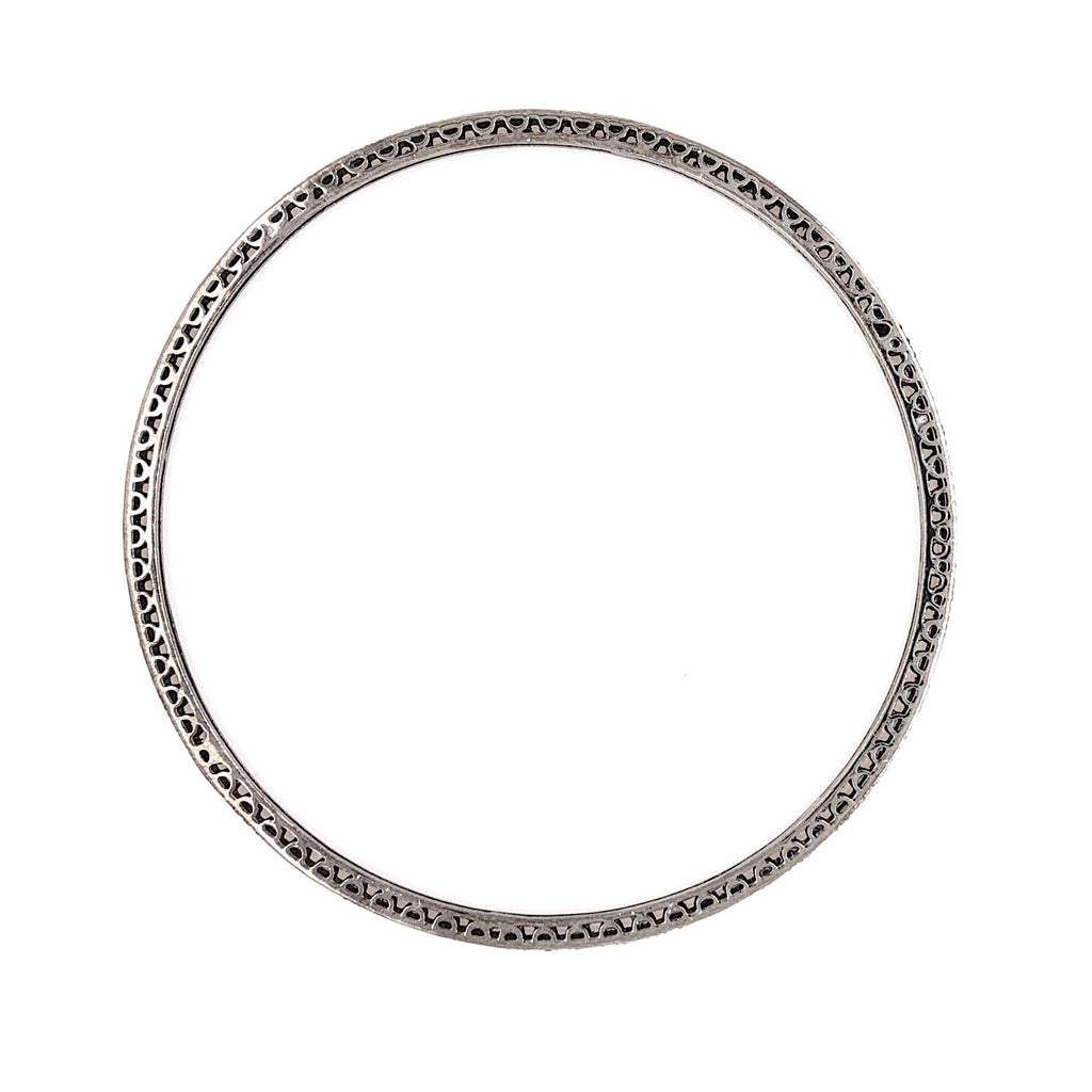 Thin Stackable Bezel Set Salt and Pepper Diamond Bangle 0.80 ctw Oxidized Silver | Blacy's Fine Jewelers Blacys Vault