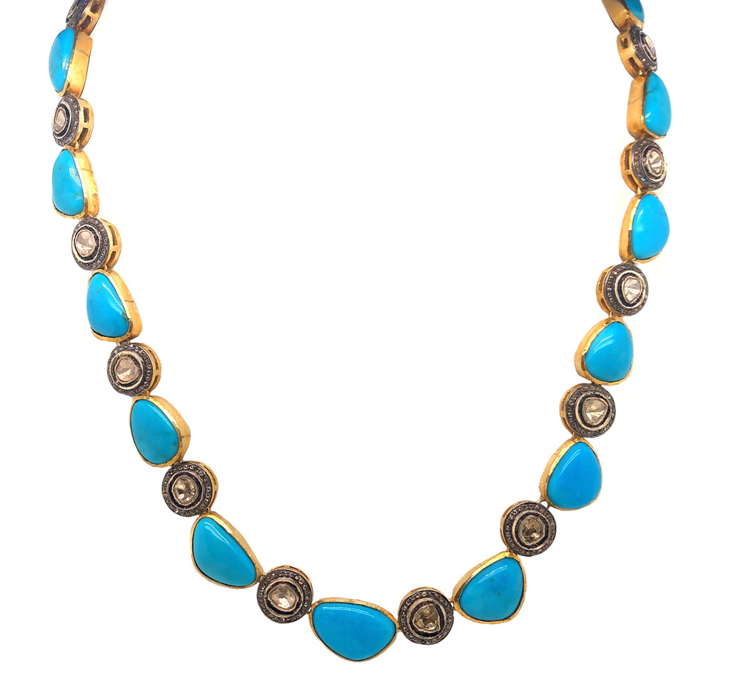 Turquoise and Diamond Halo Bezel Set Polki Diamond Necklace W/ Safety Clasp Oxidized Silver and Gold Vermeil | Blacy's Vault