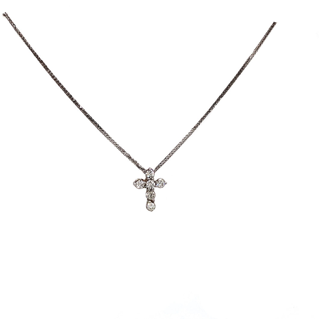 Diamond Cross Pendant 6  Brilliant Cut Round Shared Prong 14K White Gold 18 inch Chain