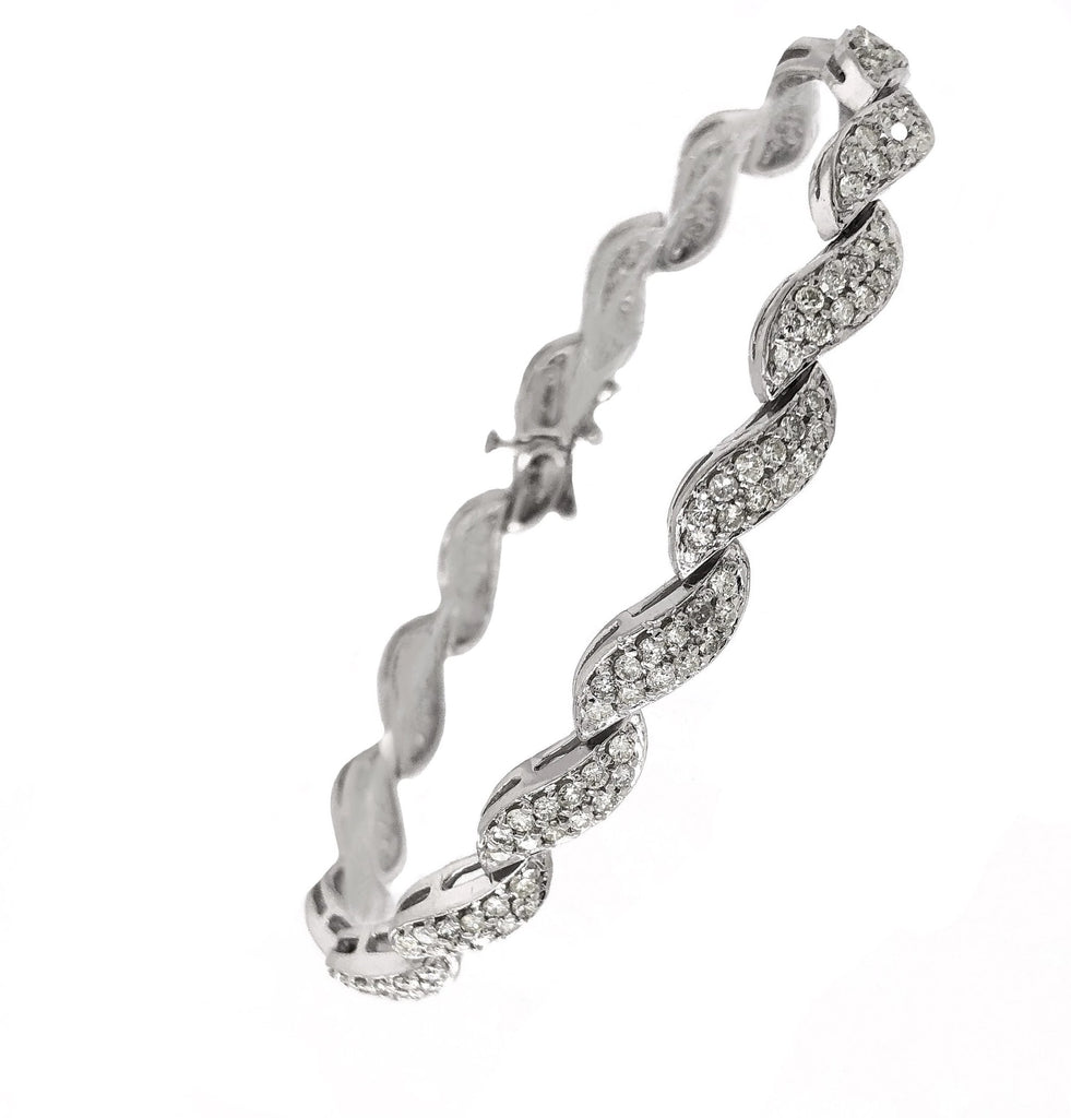 Wave Link Diamond Bracelet Round Brilliant Cut diamonds 3.00 ctw 14K White Gold | Blacy's Vault