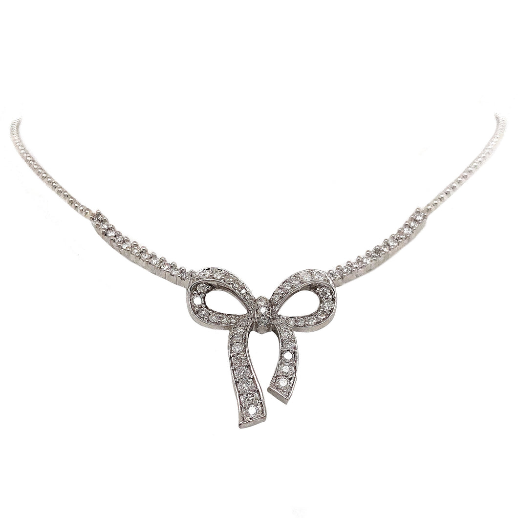 Pave Diamond Bow Necklace 1.00 ctw 14K White Gold