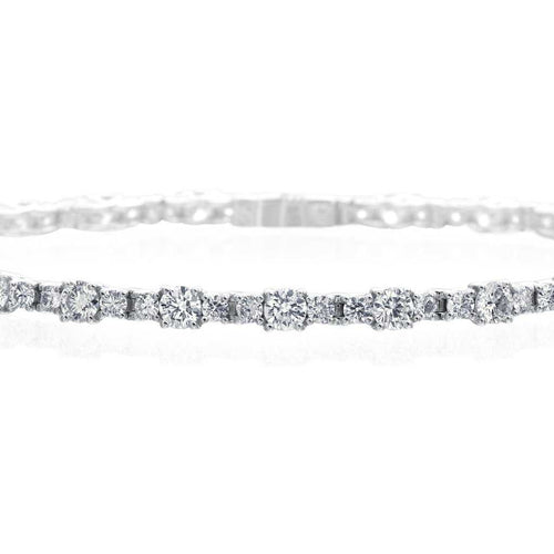 A. Link Diamond Lattice Tennis Bracelet 18K White Gold, 3 Stone Link Design | Blacy's Fine Jewelers