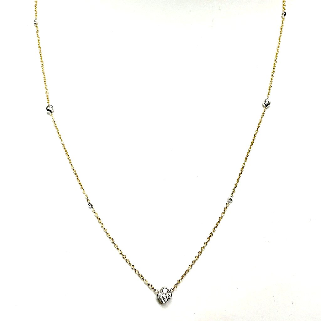 A. Link Baby Pirates Diamond Chain Necklace 18K, 2 Tone Gold with 57 Diamonds equals to 1.35ctw | Blacy's Fine Jewelers