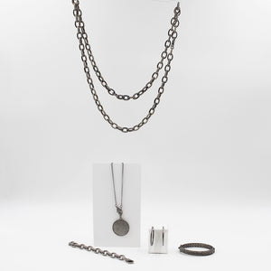 Paved Diamond Necklace Set in Oxidized Sterling Silver | Blacy's Vault