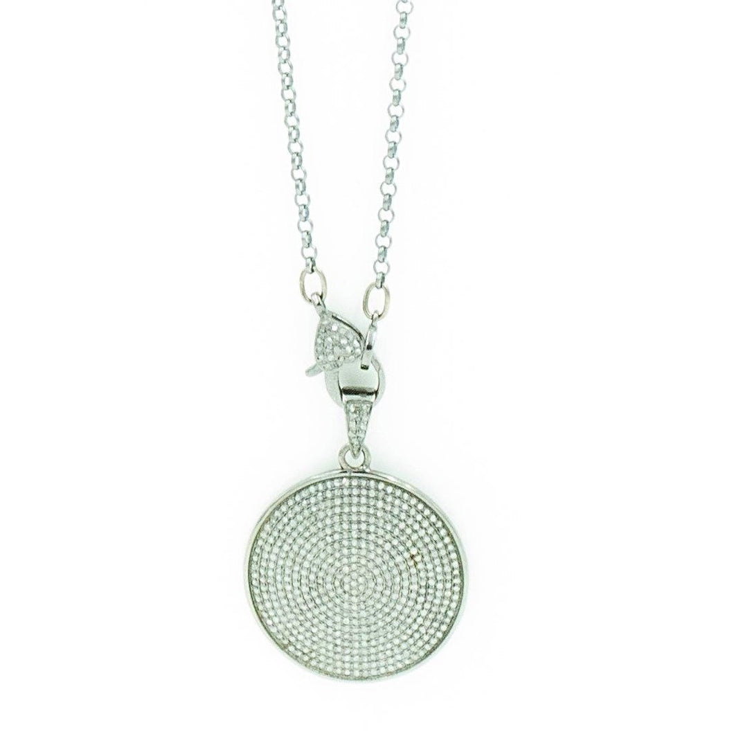 Paved Diamond Necklace Set in Oxidized Sterling Silver