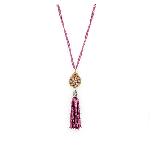Ruby and Diamond Tassel Necklace 24K Gold Vermeil and Oxidized Silver | Blacy's Fine Jewelers