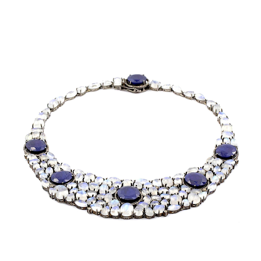 Cleopatra Blue Sapphire 30.00ctw, Moonstone 100 est and diamond 3.00cts necklace hand made in Sterling Silver. | Blacy's Fine Jewelers
