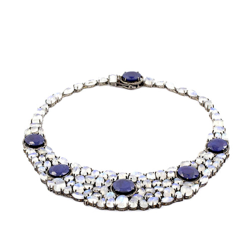 Cleopatra Blue Sapphire, Moonstone and Diamond Necklace