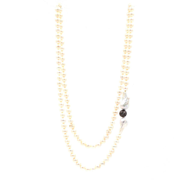 White Cultured Freshwater Pearl Necklace with Black Diamonds | Blacy's Fine Jewelers