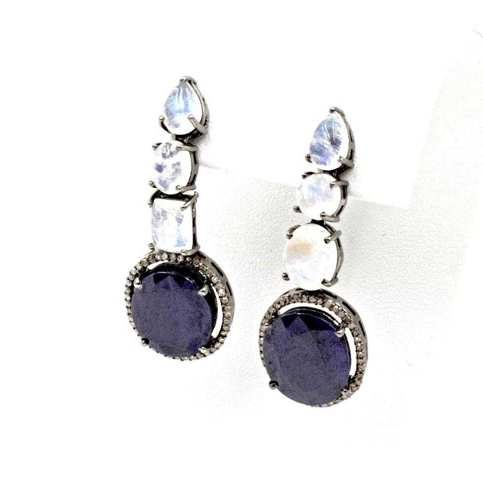 One of A Kind- Blue Sapphire 9.70ctw, Diamond 0.80ctw and Moonstone 6.15ctw Pierced Earrings (Hand Made) | Blacy's Fine Jewelers