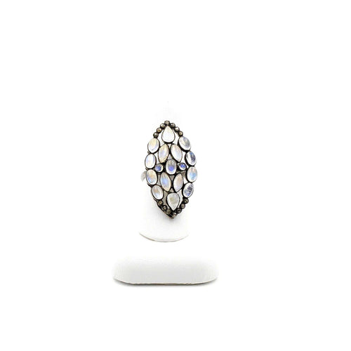 Moonstone and Diamonds Marquise Shaped Cluster Ring