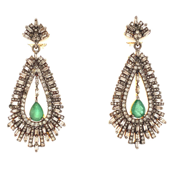 Pear Shaped Emerald and Baguette Cut Diamonds Drop Earrings Post 4.21 cts Oxidized Silver and Gold Vermeil
