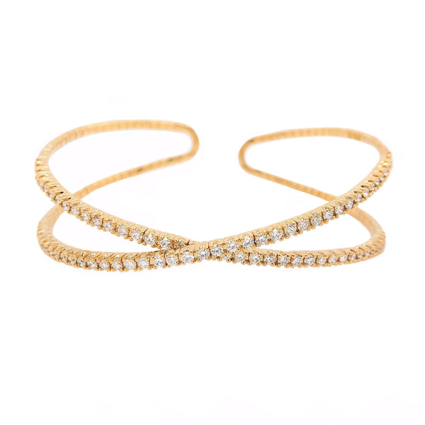 Memoire Diamond Crisscross Flexi - X - Cuff Bracelet 18 Kt Yellow Gold 1.48 ctw | Blacy's Fine Jewelers Blacys Vault