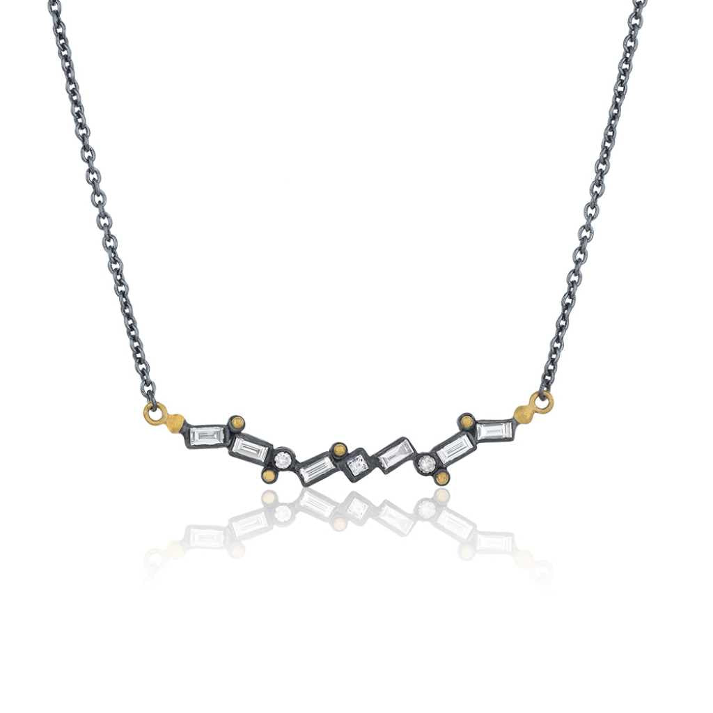 Lika Behar Dylan Baguette Necklace Diamonds Equal 0.77 ctw Oxidized Sterling Silver & 24K Gold | Blacy's Fine Jewelers
