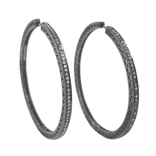 Punched Out Filigree Hoop Earrings Diamonds 0.75ctw Oxidized Sterling Silver