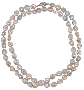 Natural Keshi Pearl Necklace 10mm 36 Inches Long