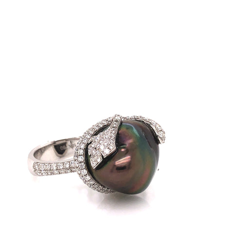 Black Tahitian Pearl Statement Ring Pave Diamond Design 1.29 ctw 14k White Gold
