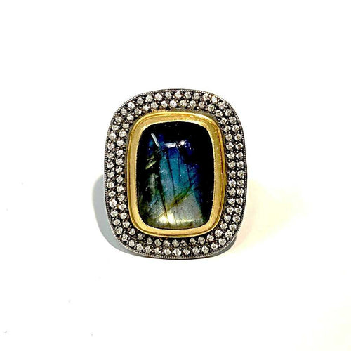 Lika Behar 24 kt and Diamond Labradorite Sterling Silver Ring