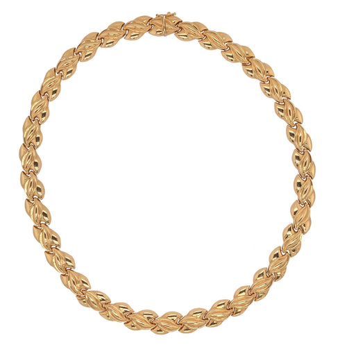 Vintage 14K Yellow Gold stampado Collar Length Necklace Intertwined Stampado Design w/Safety Clasp
