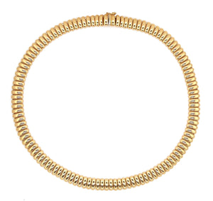 Vintage Ribbed Chain Necklace 14K Yellow Gold