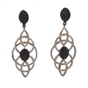 Blue Sapphire and Diamond Chandelier Earrings 1.5ctw Oxidized Sterling Silver