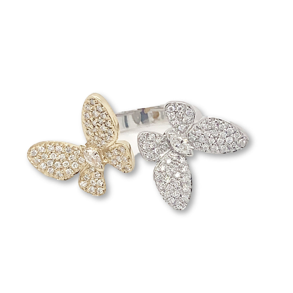 0.74ctw Diamond Butterfly Ring 18kt Yellow and White Gold | Blacy's Fine Jewelers