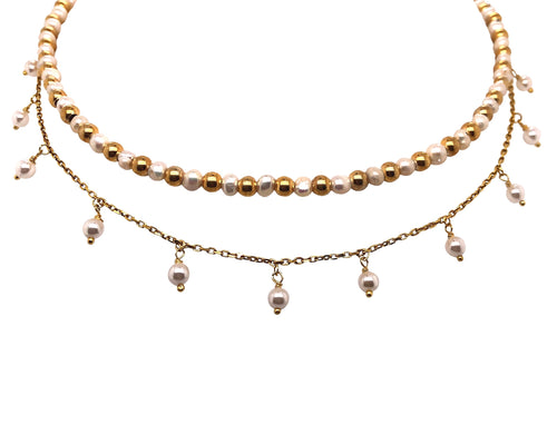Fresh Water Pearl Dangling Necklace 14 K Gold Vermeil Chain