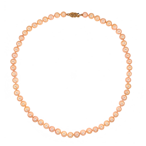 Natural Peach Pearl Necklace W/Filigree Safety Clasp 14K Yellow Gold