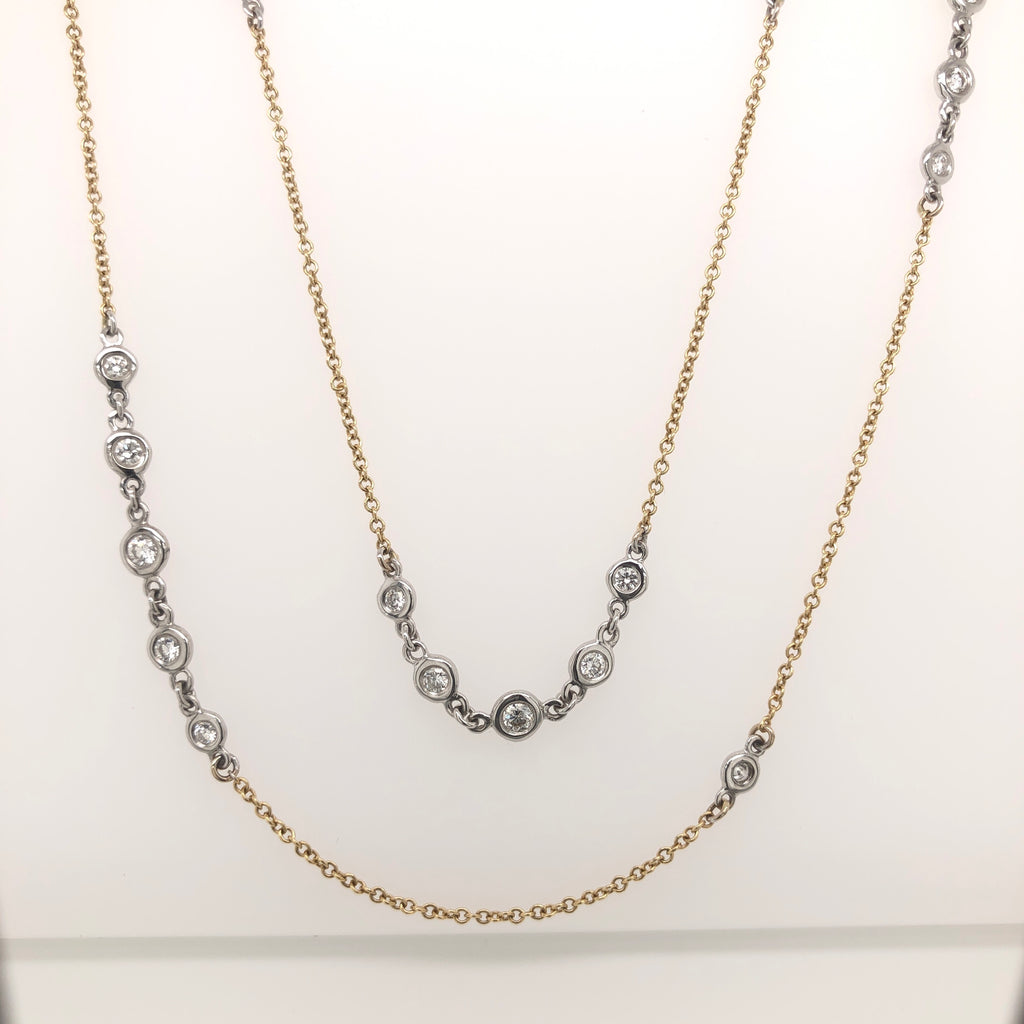 "A. Link Adjustable 36"" Diamond Necklace Chain, 18K Two Tone Gold with 41 Round Diamonds 
