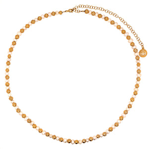 Fresh Water Pearl and Gold Vermeil Beaded Collar Length Adjustable Necklace