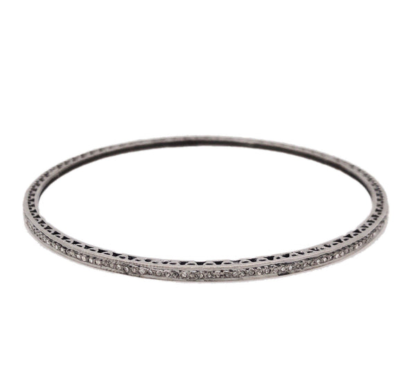 Thin Stackable Salt and Pepper Diamond Bangle 0.80 ctw Oxidized Sterling Silver