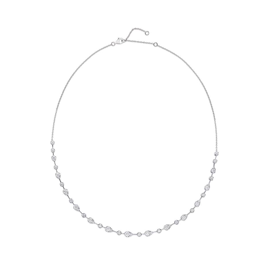 Memoire Diamond Chain Necklace Adjustable 42 Diamond Equal 3.04 ctw 18K White Gold | Blacy's Fine Jewelers