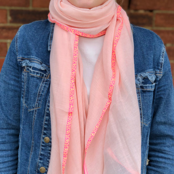 pink scarf with neon pink trim