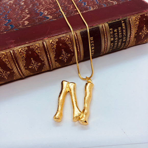 Lombok Large Gold Initial Necklace
