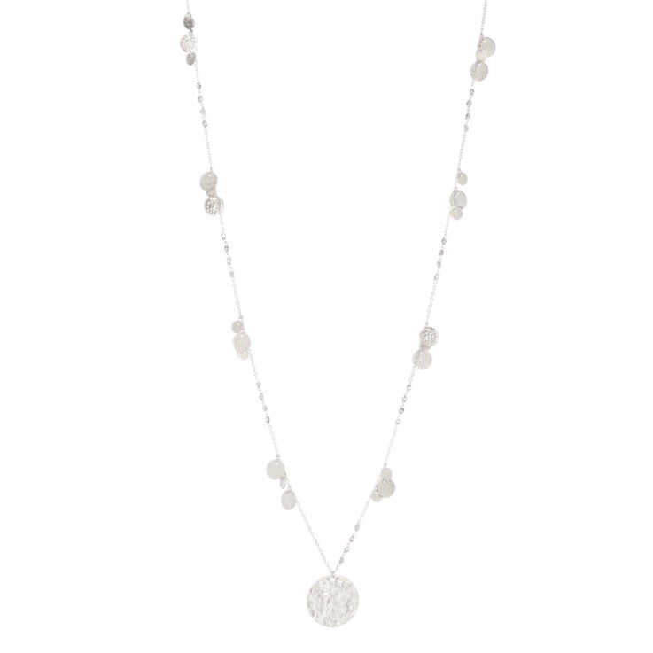Cleopatra Long Silver Coin Necklace
