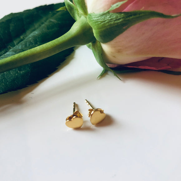 Love Heart Gold Stud Earrings