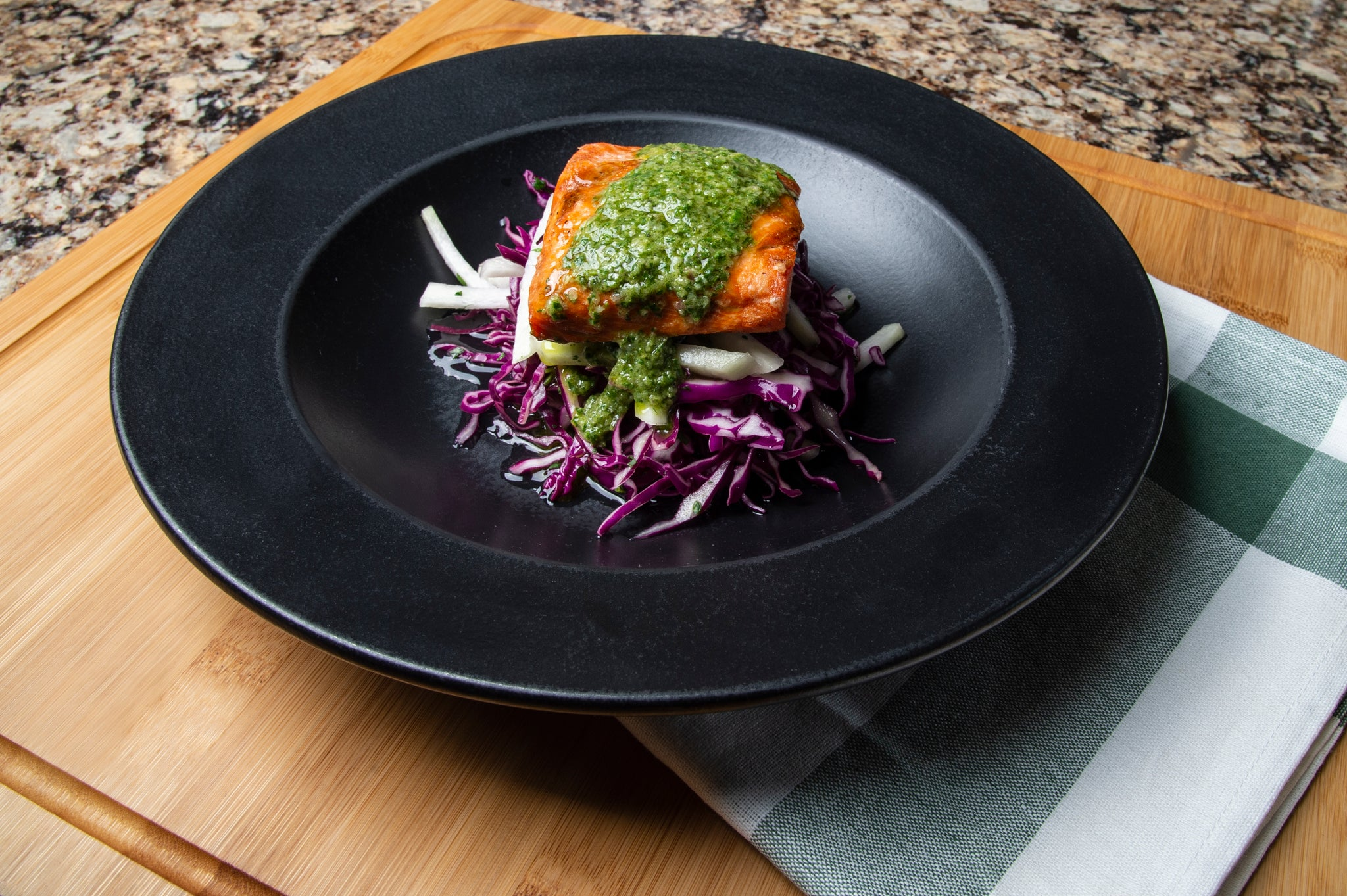 Grilled Salmon with Chimichurri Sauce and Kohlrabi-Cabbage Slaw