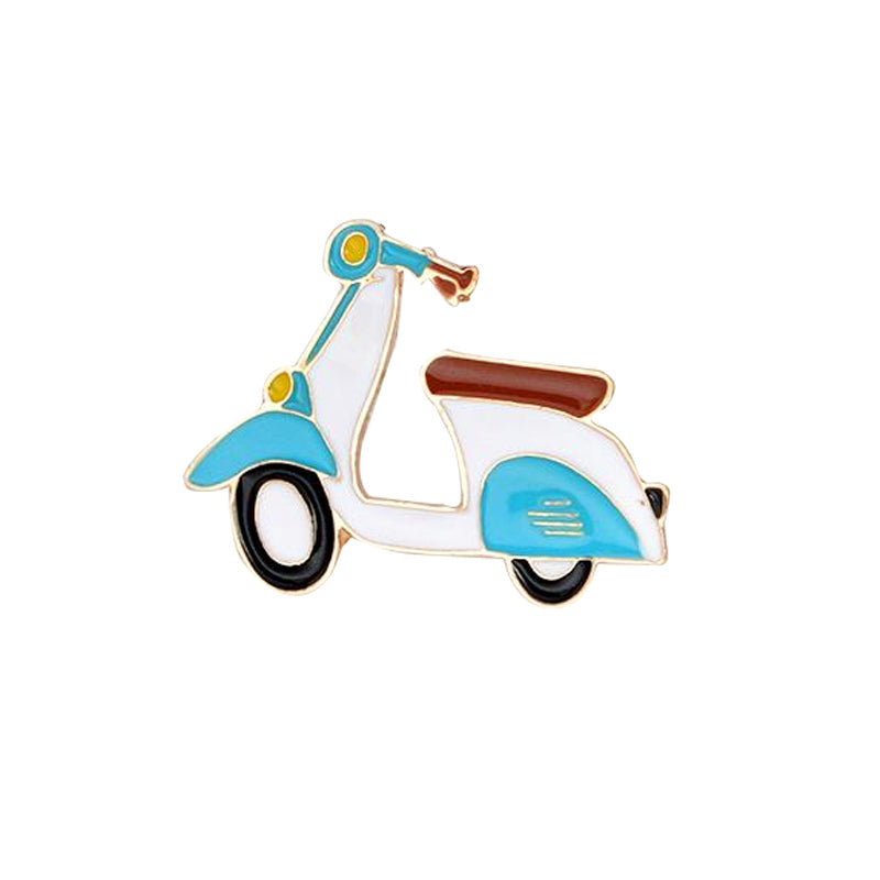 Blue and white enamel lapel moped scooter pin with black and white wheels.