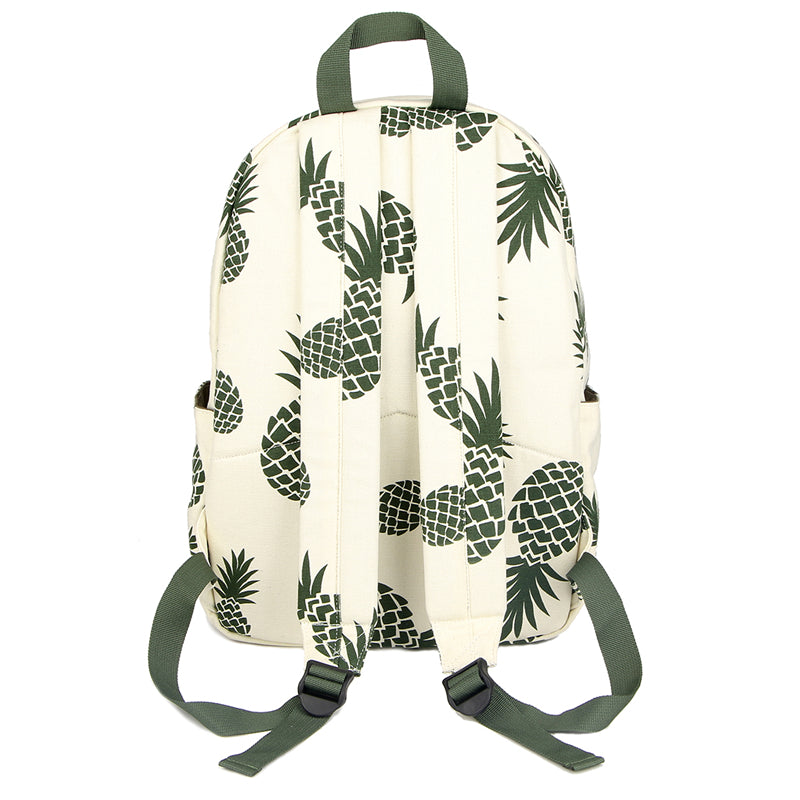 Pineapple spotted backpack showing the straps